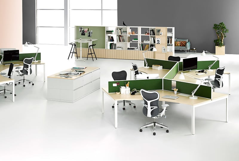 Open plan office furniture systems in nyc benhar office for Office layout plan design